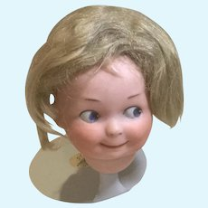 Very Nice Antique Mohair Baby or Boy Blond Wig-Size 7""