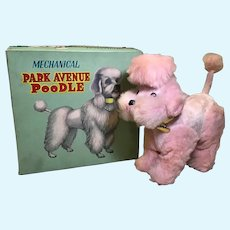 C.1950s Pink Poodle Wind Up Dog, Original Box and Note