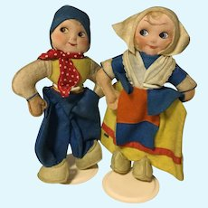 Pair of Vintage German Kersa Felt Dutch Dolls