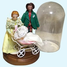 Artist Done Doll House Size 1890s Family-Wax Heads & Dome