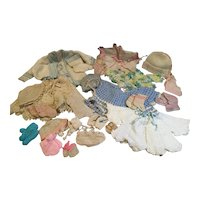 Lg. Assortment of Knitted/Crocheted Large Baby Doll Sweaters, Bonnets, Booties