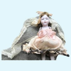 """5"""" German All Bisque Doll In Silk and Lace"""