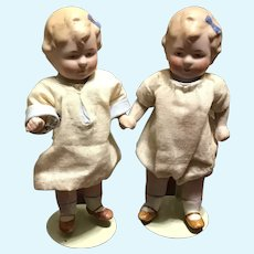"Dear Pair of Limbach All Bisque Toddler Dolls in 5"" Size"