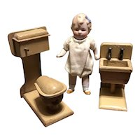 Early 20c. Doll House Wooden Toilet and Sink-Orig. Finish