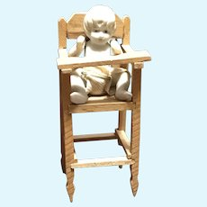 C.1920s Doll House High Chair and All Bisque Baby