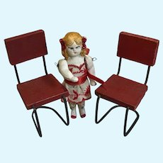 Wee Bisque Doll W/Bows and 2 Chairs