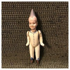 "Antique Fully Jointed All Bisque Jester Doll in 4-1/4"" Size"