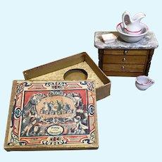 Dear Doll House Scale Antique German Boxed Bowl & Pitcher Set & Bureau/Washstand