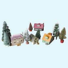 4 Vintage Beautifully Made All Wooden Miniature Houses-Great Village Size