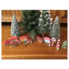 Wee Wooden Village w/Guards, Wooden Trees, Houses