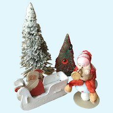 4 Piece Vintage Santa and Tree Assortment