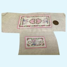 Two Vintage Petit Point Pieces with Bunnies