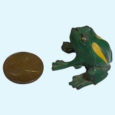 Great Vintage White Metal Painted Miniature Frog