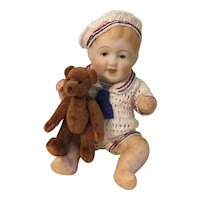"5-1/2"" Character Baby in Mariner's Suit with His Teddy"
