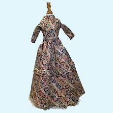 Early 19c. Wool Challis Day Dress