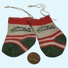 Pair of Mid century Dolly Christmas Socks or Stockings