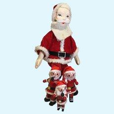 C.1960 Group of 4 Santa Figures