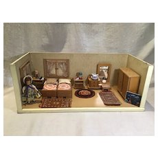 Mid Century German Room Box, Furnishings, 1 Tiny Town Doll