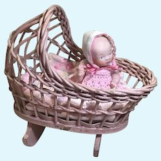 1930s Wicker Cradle w/Bedding & Vintage Bisque Baby