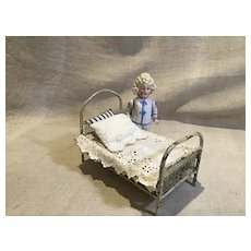 Early 20c. German Metal Doll House Bed