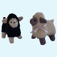 Cute Pair of Mohair Plush Sheep