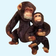 Cutest Mama and Baby Chimpanzee Set in Mohair