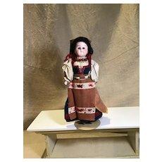 "9"" Regionally Dressed Bisque Head Doll"