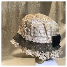 Early 19c. Lace, Velvet and Silk Mob Cap