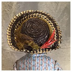 Antique Two Tone Doll Straw Hat