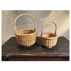 Finely Done Pair of Nantucket Type Miniature Baskets