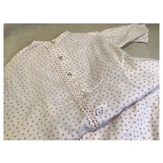 """29"""" C.1900 Red Sprigged Cotton Baby Gown-Great Fabric"""