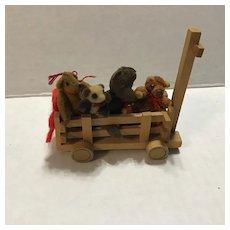 Wee Vintage Wooden Wagon Full of Mini Teddy Bears