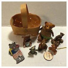Vintage Basket of 7 Mini Bears