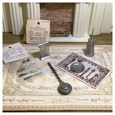 Vintage Assortment of Pewter Dollhouse Accessories