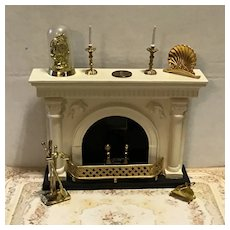 Vintage Doll House Fireplace and Accessories