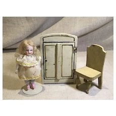 Early 20c. Doll House Armoire and Chair