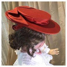 """Vintage Red Satin Hat for 26-30"""" Doll"""