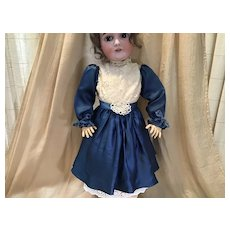 """Antique Mommy Sewn Silk and Lace Dress for About 26-27"""" doll"""