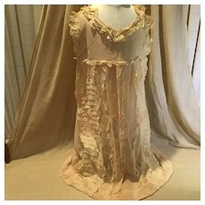 C.1915 Sheer Peach Cotton & Lace Young Girl's Dress