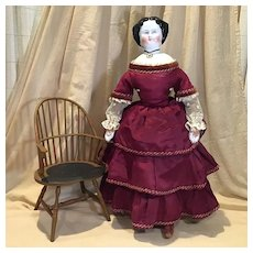 """Antique 22"""" Hi-Brow China Head Doll c.1880 AS IS"""