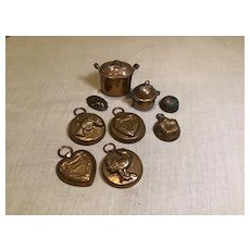 Vintage 9 Pieces of Copper German Kitchen Accessories
