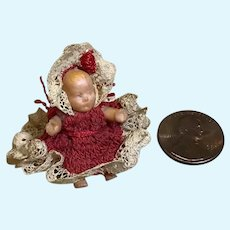 """1-1/2"""" Rubber Baby Doll in Fine Crochet Outfit"""