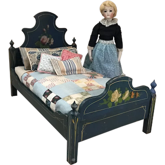 C.1890s Rose Painted Cottage Doll Bed & Dressings