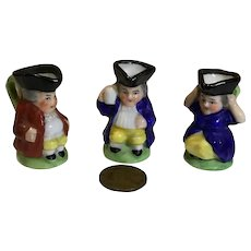 3 Vintage Miniature Toby Mugs