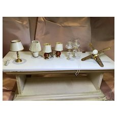 7 Vintage Doll House Electric Lamps/Lights