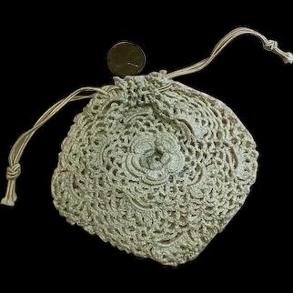 Vintage Irish Crochet Large Doll Purse