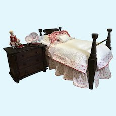C.1900 Walnut Rope Bed and Dressings
