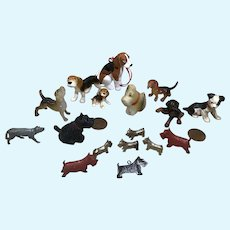 17 Doll House Scale Vintage Dogs