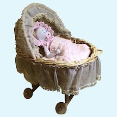 Dear Wicker Bassinet Bed and Limbach Baby Doll