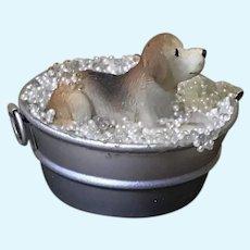Vintage Dollhouse Pup Having Bath